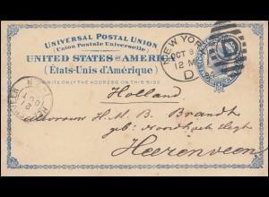 USA Postkarte 2 Cent Liberty blau NEW YORK 9.10.1884 nach HEERENVEEN 21.10.84