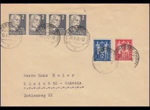 243-244 Postgewerkschaft mit 212 Kollwitz in MiF auf Brief HERMSDORF/TH. 20.8.50