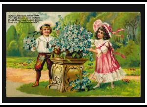 AK Kinder Vergissmeinnicht Mädchen und Junge vor Blumenkübel SCHÜTTORF 17.5.1920