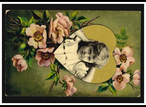 Ansichtskarte Kinder Mädchen-Portrait in Goldenem Herz mit Blumen IBURG 6.4.1912
