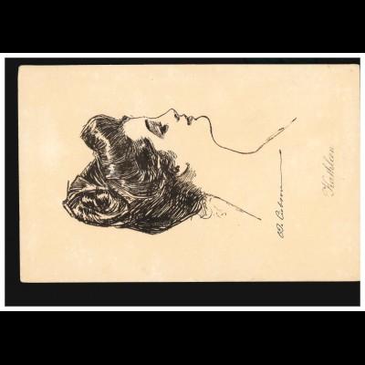 England Ansichtskarte Vornamen: Kathleen - Zeichnung Frauenbildnis, ungebraucht