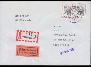 1582 Frauen 400 Pf. Paar MeF RS-R-Brief KÖLN 45 - 10.10.1994 als Ortsbrief