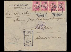 Türkei: SMYRNA / SMYRNE 20.5.1916 Briefvorderseite mit 338 Aufdruck-Marken