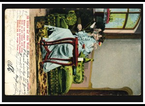 Liebes-AK Liebespaar: Ich trinke auf dein Wohl, ... KÖNIGSBORN um 1905