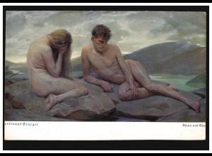 Künstler-Ansichtskarte Ferdinand Staeger: Adam und Eva, ungebraucht