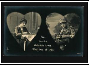 Liebes-AK Nur wer die Sehnsucht kennt, weiss was ich leide, gelaufen 1915