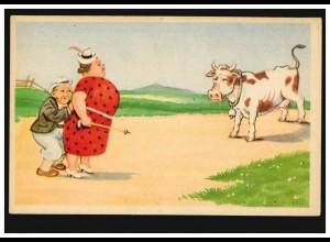 Karikatur-Ansichtskarte Der kleine Feigling: Mann Frau Bulle, ungebraucht