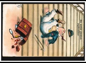Karikatur-Ansichtskarte Bin soeben glücklich angekommen!, ungebraucht