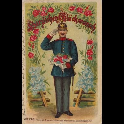 Militaria-AK Soldat in Uniform mit Rosen, MUNSTERLAGER (BZ. HANNOVER) 7.6.1911
