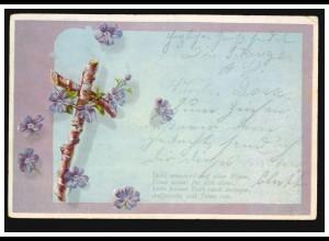 AK Holzkreuz, Gedicht Liebe schwärmt auf allen Wegen, Treue..., gelaufen um 1905