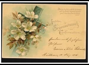 AK Konfirmation Kreuz mit Blumen, Psalm Johannes 14.6., HEILBRONN 19.3.1901