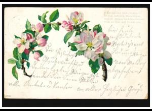 AK Blütenzweige, Gedicht: Blumengeister ..., EDDELAK 1.10.1900
