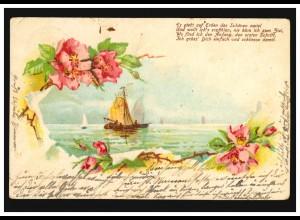 AK Meer mit Segelschiffe, Gedicht: Es gibt auf Erden.. WAIN - KRANZEGG 1905