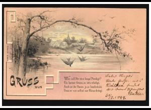 AK Landschaftsbild Dorfidylle, Gedicht Was soll Dir ... DÜLKEN 1899