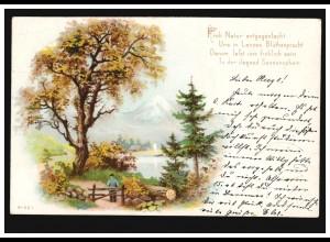 AK Landschaftsbild mit Eiche, Gedicht: Froh Natur entgegen lacht.., DÜLKEN 1900