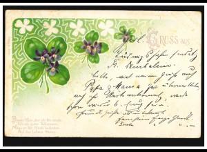 AK Vierblättrige Kleeblätter, Gedicht: Dieser Klee, den ich Dir sende ..., 1902