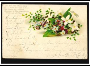 AK Blumen, Gedicht: Ich lieb eine Blume, doch ..., GERDERATH 10.6.1900