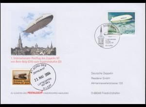 Luftschiffspost DKL 96 Zeppelin NT 1. Bern-Postflug SSt BERN 22.5.2004