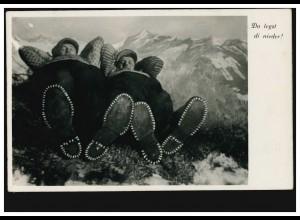 Humor-AK Ruhepause im Gebirge - Da legst di nieder!, OBERAMMERGAU 29.4.1937