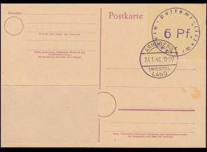 Britische Zone Notausgabe Postkarte P A01aB Arnsberg, Gefälligkeits-O 24.1.1946