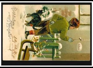 Prägekarte Tiere: Kranke Katze besucht Dr. Kater zu Neujahr, gelaufen um 1905