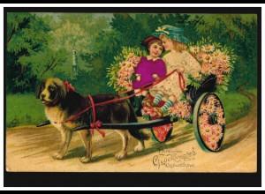 Prägekarte Tiere: Hundegespann mit Mädchen und Blumen, LINDAU 11.4.1912