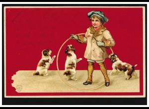 Prägekarte Tiere: Hunde - Mädchen mit Welpen, nach FRANKFURT/M.-BOCKENHEIM 1901