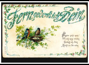 Prägekarte Tiere: Vögel - Gimpelpaar mit Nest voller Eier, ungebraucht, um 1905