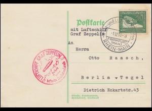 Zeppelin Hindenburg Fahrt in das befreite Sudetenland Postkarte SSt Ffm. 1.12.38