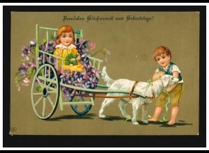 Prägekarte Tiere: Hundegespann mit Kindern und Glücksklee, 21.2.1911