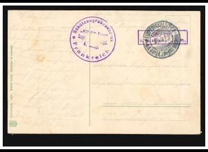 Feldpost BS Schützengrabenverein von der Tann Frankreich 26.9.1915 AK Liebespaar