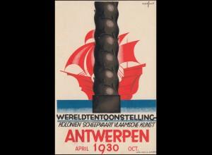 Postkarte Weltausstellung Kolonien Schifffahrt Flämische Kunst ANTWERPEN 1930