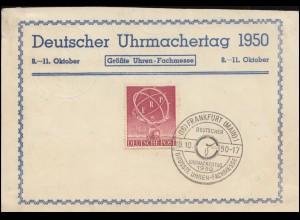 71 ERP-Marke auf Pk Uhrmachertag 1950 SSt Ffm. 10.10.50, Druckfehler obere Kante