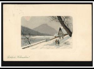 Prägekarte Weihnachten Winterlandschaft mit Bergen, NÖRTEN 21.12.1912