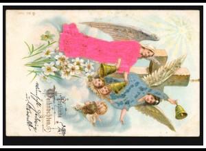 Prägekarte Weihnachten Engel Glocken Kreuz, beschriftet, um 1910