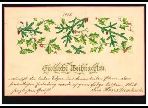 Prägekarte Weihnachten Weihnachtsdekoration Zweige, Postkarte BERLIN 24.12.05