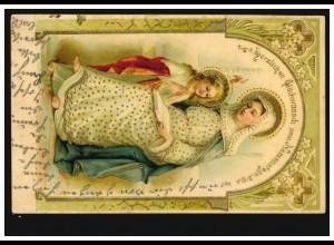 Prägekarte Namenstag Heilige Mutter Anna Bibel Goldprägung,gelaufen nach REUTE