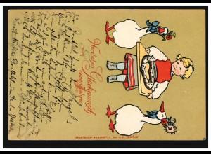 Prägekarte Tiere: Neujahrsgrüße geschmückte Gänse, FRANKFURT 31.12.1902