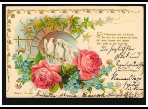 Prägekarte Tiere: Taubenpaar mit Rosen, WILLICH 15.12.1902 nach VORST 16.12.02