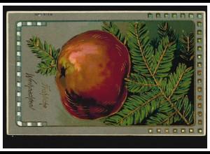 Prägekarte Weihnachten Apfel am Tannenzweig Goldprägung, DORSTEN 23.12.1910