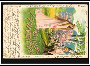 Prägekarte Pfingsten Frau mit Amor im Wald, HANNOVER 8.6.1905 nach WÜLFEL 9.6.05