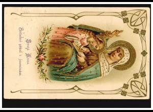 Prägekarte Heilige Mutter Anna mit Kind und Bibel Goldprägung, SKWORETZ 25.7.07