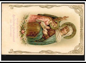 Prägekarte Namenstag Heilige Mutter Anna Bibel Goldprägung, MÜNCHEN 26.7.1907