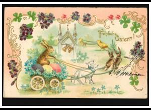 Prägekarte Tiere: Hasengespann mit Lämmer und Küken, per Bahnpost 1905