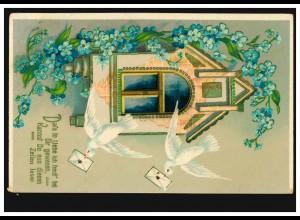Prägekarte Tiere: Brieftauben mit Veilchengirlande, ROHRBACH in OBERSCHL. 3.6.12