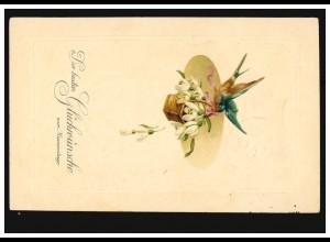Prägekarte Namenstag Vogel mit Korb und Maiglöckchen, HAMM (WESTF) 2 d 16.3.14