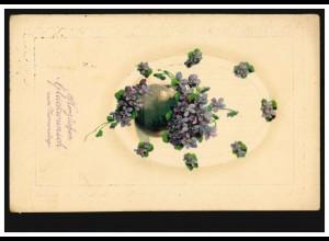 Prägekarte Namenstag Blumentopf mit Veilchen, M.GLADBACH 18.3.1913