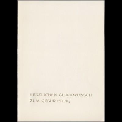 Minister-Faltkarte Kunstwoche und Engels, Beiblatt Glückwünsche 7.2.1970 Schulze