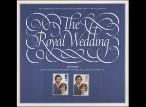 Großbritannien 884-885 Hochzeit Prinz Charles & Lady Diana, Satz ** im Folder/SP