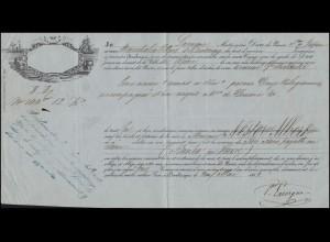 Frankreich Schiffsbegleitbrief / Connaissemaents nach Le Havre von 1844